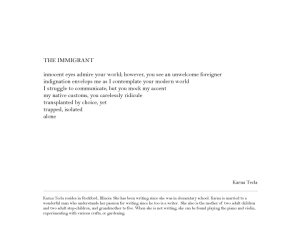 The Immigrant written by Karna Tecla